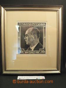 79389 - 1935 HEINZ B.: stamp design Portrait Beneš 50h, pencil, for