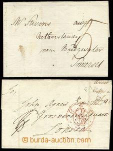 79414 - 1785-99- 2x folded pre-philatelic letter, 1x from Farehamu t