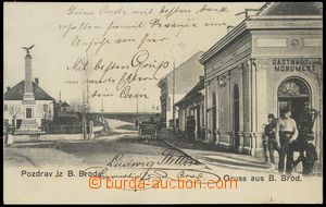 79574 - 1905 BOSANSKI BROD -  B/W, view of street with memorial and