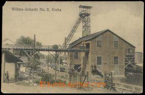 79576 - 1911 KREKA - šachta Willma, kolorovaná pohlednice, použit