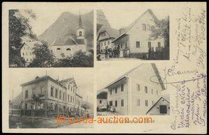 79591 - 1908 KOROŠKA BELA -  B/W, 4-view postcard, important buildi