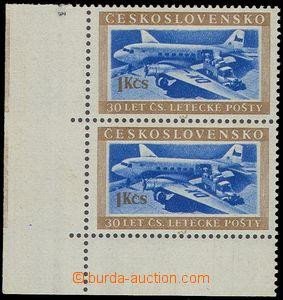 79643 - 1953 Pof.767DO, Transport 1Kčs, vertical corner Pr with imp