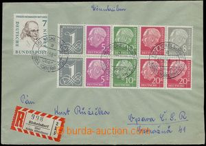 79652 - 1958 Reg letter to Czechoslovakia franked with. blk-of-10 H-