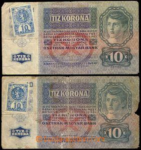 79686 - 1919 ČSR I.  sestava 2ks maďarských bankovek 10K s čs. kolke