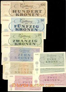 79689 - 1943 KT TEREZÍN  sestava 9ks bankovek KT Terezín 1K-100K, ní