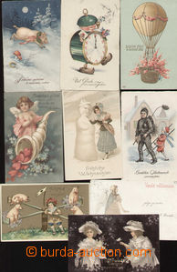 79805 - 1900-20 comp. 9 pcs of Ppc, lithography, piglet/-s, chimney-
