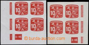 79829 - 1945 Pof.NV24, Listonoš, levý a pravý dolní rohový 4-bl