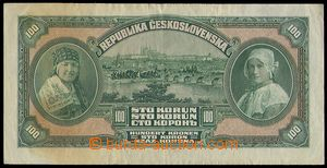 79842 - 1920 ČSR I.   Ba.16a, 100Kč Mucha zelená, série I, kat. 1300