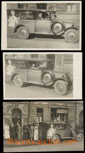 79868 - 1930 sestava 3ks pohlednic, reklamní auto a zaměstnanci fy