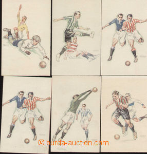 79879 - 1927 FOOTBALL, comp. 6 pcs of Ppc, No. 1 2x, 3-6, painted sn