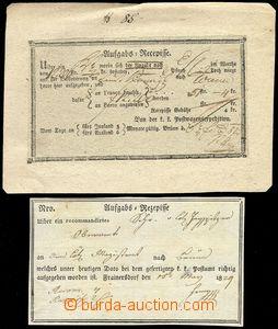 79923 - 1829 2 pcs of postmaster receipts, BRNO, VRANOVSKÁ VES, goo