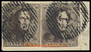 79937 - 1849 Mi.1a, Leopold, c.v.. 190€, pair on cut square, very
