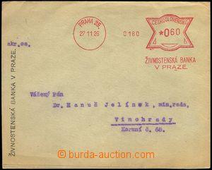 79957 - 1926 service letter with meter stmp ŽIVNOSTENSKÁ BANK V PR