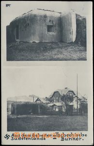 79980 - 1938 BUNKRY, 2-view  B/W postcard, view of bunkers in/at ann