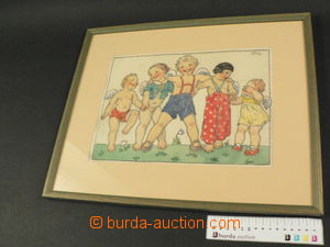 79983 - 1942 FISCHEROVÁ-KVĚCHOVÁ Marie (1894–1984): Děti, akvarel, 3