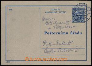 79984 - 1937 CAZ1A recording address card, Czech variety, used, CDS