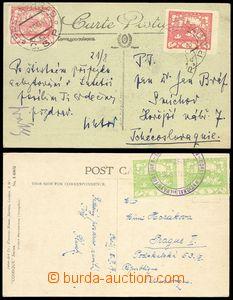80002 - 1919 FRANCE / COURIER MAIL  2x postcard franked Czechosl. st
