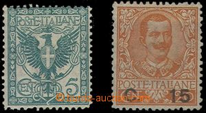 80014 - 1901-05 Mi.76, 5c Znak + Mi.86, 15/20c Viktor Emanuel III.,