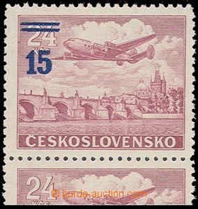 80021 - 1949 Pof.L31a K, overprint provisory 15/24Kčs violet-red, l