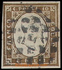 80044 - 1854 Mi.11d, 10c Viktor Emanuel II., tmavě hnědá, střih