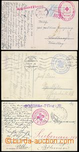 80101 - 1914-17 3x postcard sent by FPpost, cachets of Red Cross, CD