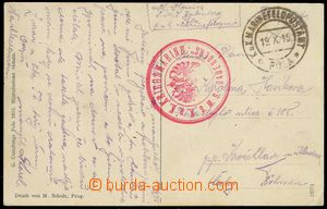 80117 - 1915 S.M.S. BABENBERG, red round postmark with eagle, CDS Po