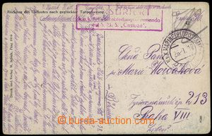 80122 - 1918 S.M.S. CUSTOZA  red frame censorship mark, CDS Pola 25.