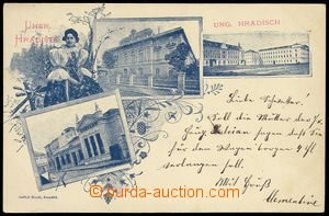 80134 - 1898 UHERSKÉ HRADIŠTĚ - 3-okénková koláž s dívkou v