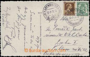 80135 - 1937 OLYMPIÁDA / BELGIE  pohlednice zaslaná do ČSR, 2x PR
