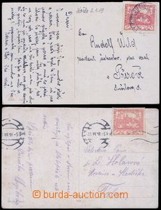 80137 - 1918 2x postcard franked with. stmp Hradčany 10h (Pof.5), b