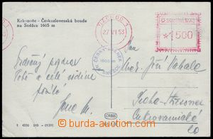 80148 - 1953 postcard with meter stmp NÁCHOD 1/ 27.VI.53, 9 days af