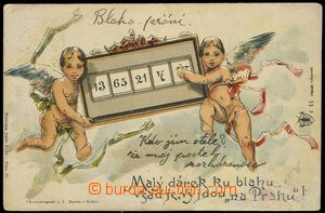 80155 - 1901 Josef Šváb č. 44, barevná litografie, andílci, DA,