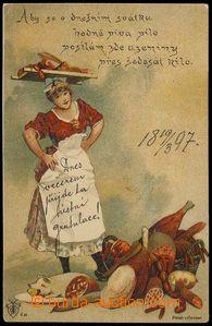 80165 - 1893 Josef Šváb č. 13, barevná litografie, hospodyňka,