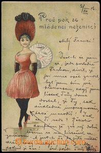 80167 - 1891 Josef Šváb č. 28, barevná litografie, vnadná dáma