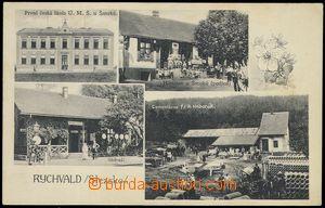 80171 - 1925 RYCHVALD - 4-okénková, nádraží, škola, cementárn
