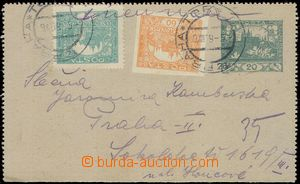 80177 - 1919 CZL1 without margins, uprated with stamp 60h + 5h Hrad�