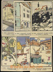 80178 - 1925? PLZEŇ - sestava 6ks pohlednic z cyklu Zákoutí star�