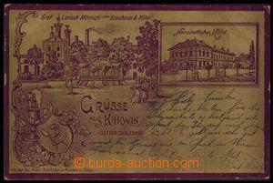 80179 - 1901 KARVINÁ (Karwin) - pivovar, hotel, kovová fólie, zla