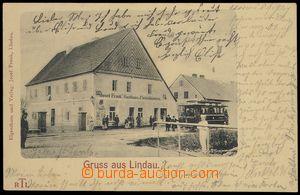 80181 - 1905? LIPĚTÍN (Lindau) - zaniklá obec, hostinec, tramvaj,