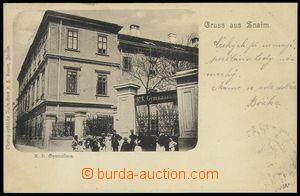80182 - 1899 ZNOJMO (Znaim) - budova gymnázia, lidé; DA, prošlá,