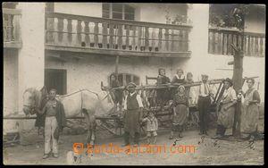 80183 - 1923 STŘÍBRO (Mies) - fotopohlednice, koňský povoz, lid�