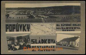 80189 - 1925 POPŮVKY - 4-okénková, celkový pohled, restaurace Na