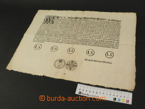 80191 - 1722 circular concerning coins, with gravure of coin, writte