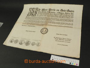 80196 - 1758 circular concerning coins with 3 gravures, written in G