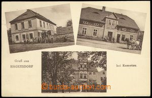 80240 - 1937 AHNÍKOV (Hagensdorf)  3-views, monochrome, pub, small