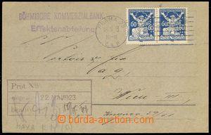80286 - 1923 Maxa K14, firemní lístek banky zaslaný do Vídně, 2