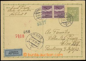 80299 - 1939 CDV65 uprated with stamp Pof.L15 2x, sent by air mail t