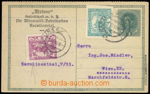 80322 - 1919 CPŘ3 Charles 8h, uprated stamp. Pof.2, 4, CDS KARLÍN