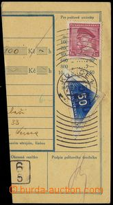 80349 - 1937 DELIVERY  parcel dispatch card segment with Pof.303, DR