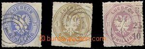 80382 - 1864 Mi.11-12, 14, Coat of arms, stamps with pin hole, No.11
